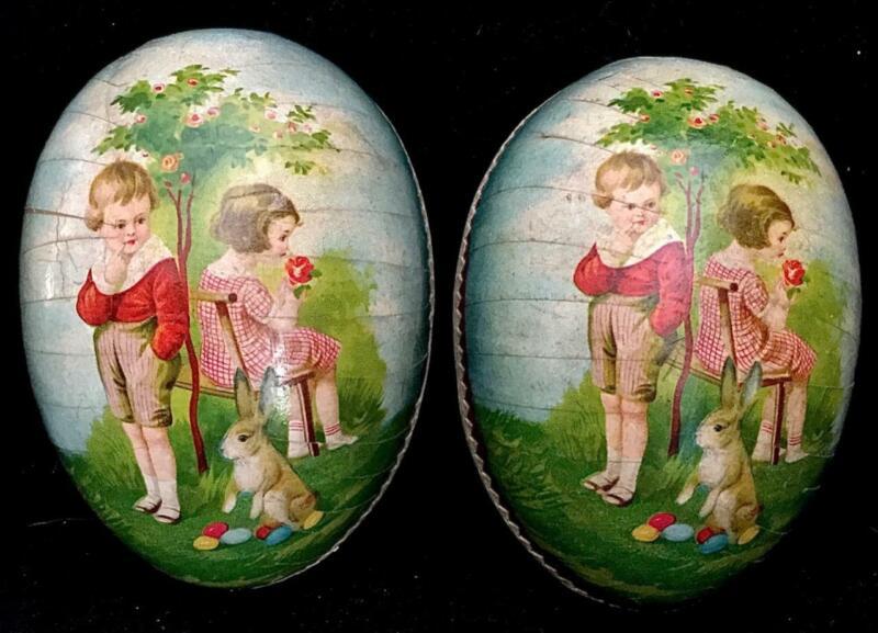 1900s Vintage GERMANY GIRL BOY ROSE TREE RABBIT EASTER EGG PAPER MACHE CANDY