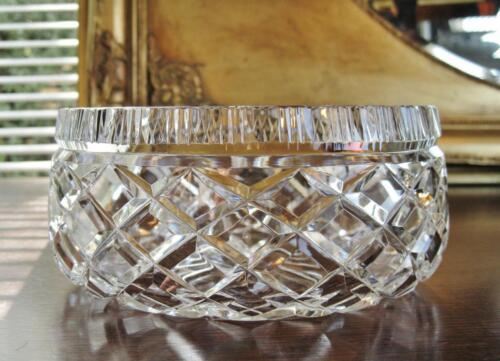 Sparkling vintage crystal master bowl, hand cut diamond pattern.