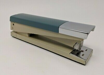 Vintage Acco 20 Desk Stapler Industrial Teal And Chrome Works Well
