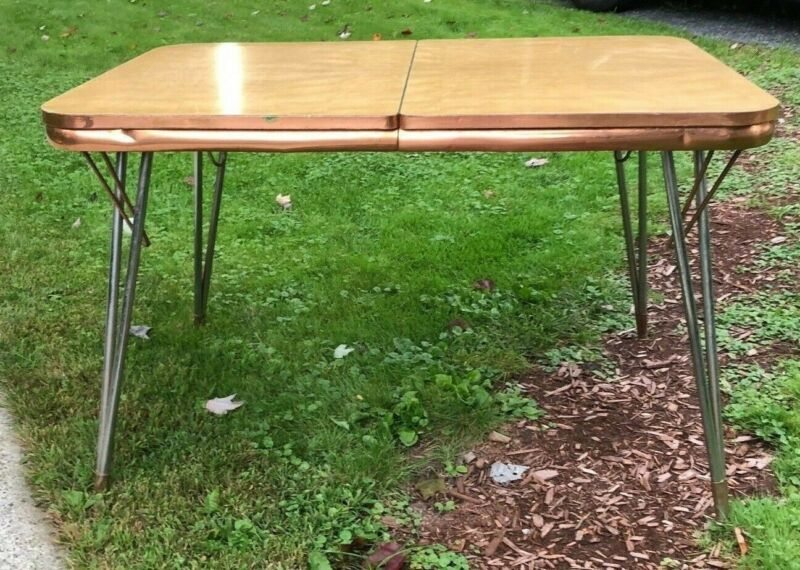 Mid Century Formica Top  Kitchen Table with Leaf Rare Copper Edging