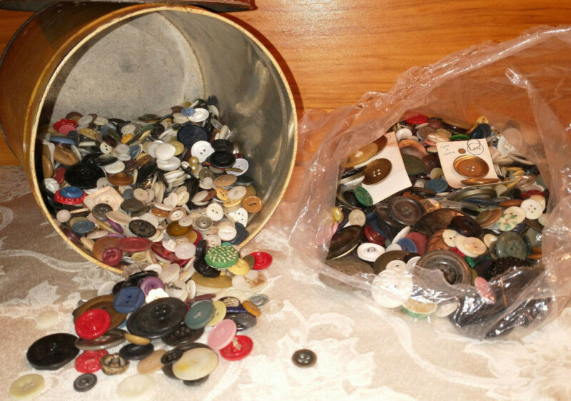 Over 6 lbs Antique & Vintage Buttons All Varieties