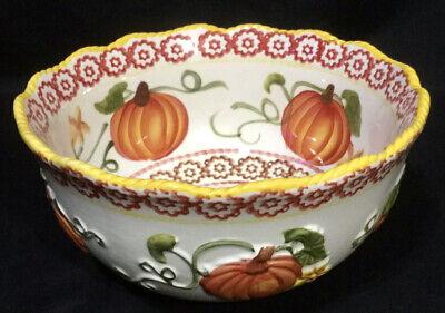 Temp-tations Stoneware Old World Pumpkin Fall Harvest 1.5 QT Serving Bowl
