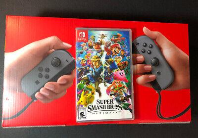 Nintendo Switch 32GB Gray Joy‑Con v2 + Super Smash Bros Ultimate Game Bundle NEW