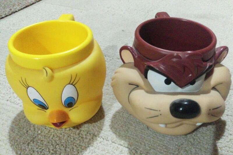 Vintage Tweety Bird and Taz Mugs