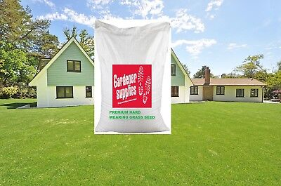 20kg Grass Seed Hard Wearing Heavy Use Garden Lawn Quick Acting Certified