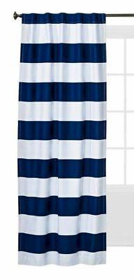 Pillowfort Twill Navy Blue Stripe Light Blocking Window Panel  84