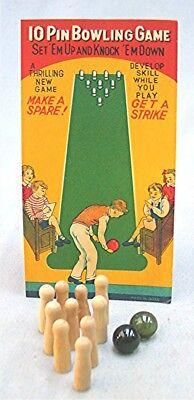 Vintage Japan Miniature Toy Game - Bowling 10 Pin game - Excellent in Package (Bowling Toy)