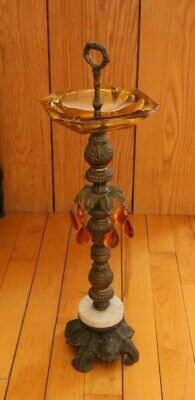 Vintage Amber Glass Standing Ashtray Brass Cigarette Stand w/ Prisms + Marble