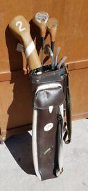 **£75** 7 Vintage John Letters Golf Clubs in Leather Dunlop Bag