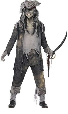 Mens Ghostly Ghoul Pirate Zombie Halloween Fancy Dress Costume Outfit M L XL