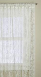 Lace Curtains Antique Ivory Vintage Style Floral 2 Panels Total 120