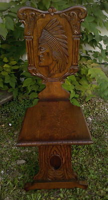 Solid Oak Indian Wood Accent Chair Carved Back Handmade