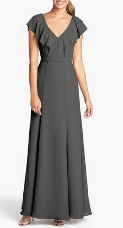 Jenny Yoo Cecilia Ruffled Chiffon Gown Long Dress Bridesmaid Gray Charcoal US 14
