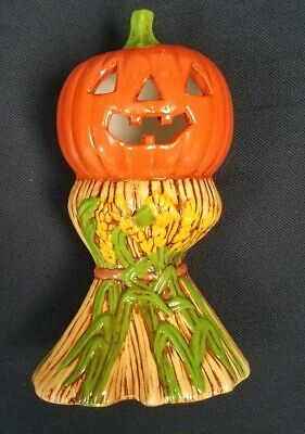 Vintage Hand Painted Ceramic Carved Pumpkin & Corn Stalks HALLOWEEN/AUTUMN/FALL