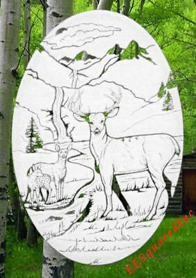 Deer Window Decal OVAL 15x23 Static Cling Country Decor for Glass Sliding Doors