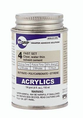 Ips Weld-on 4 Plastic Solvent Glue Cement For Acrylicplexiglas - 4 Oz Bottle