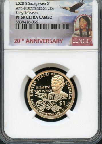 2020 S Sacagawea $1 Anti-Discrimination Law E.R. NGC PF69 U.C. (Portrait) ANN