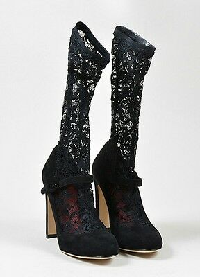 $1095 NEW Dolce & Gabbana Suede Mary Jane Lace Sock Black Shoes Size 39.5 9 M