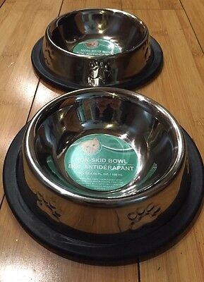 2 Pet Bowls Stainless No Tip Non Slip Food Water Dish With Paw Print Puppy Cat