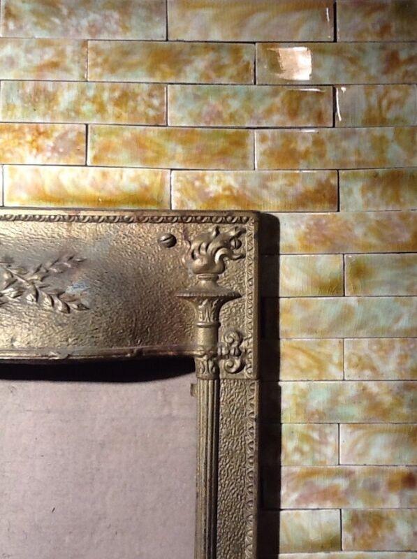 Complete Set Vintage Victorian Antique Fireplace Tile Tiles Mantle Oak Fern