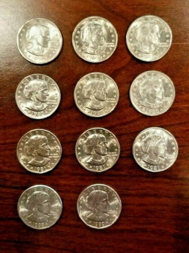 1979-1999  $1 Susan B Anthony (SBA) Dollar Complete 11 Coin P, D & S Set BU/AU