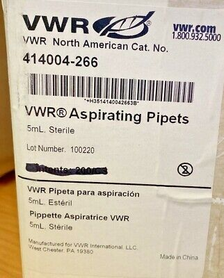 Vwr 414004-266 5 Ml Aspirating Pipet 40pk Individually Wrapped Sterile