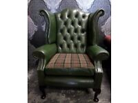 Stunning 70s Chesterfield Queen Anne Wing Back Chair Green Leather Possible Delivery