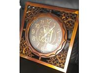 Islamic wood effect wall clock perfect condition