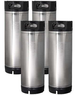 Four New Kegco 5 Gallon Ball Lock Pepsi Cornelius Home Brew Kegs - Rubber Handle