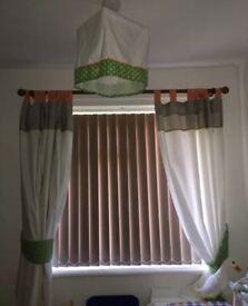Mamas and papas curtains light shade cot bumper nursery set