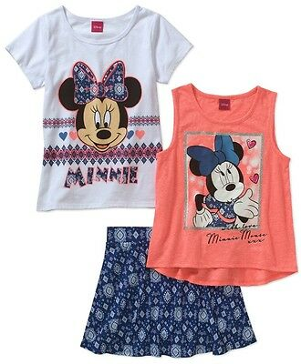 3 Piece Scooter - MINNIE MOUSE 3piece Girl TANK TOP w/ SCOOTER SKIRT Set Sz 4/5