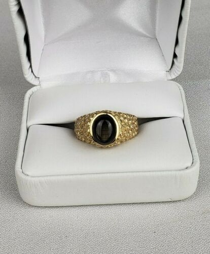 Vintage 14K solid yellow gold  Mens Cats Eye Ring Size 9.25 Heavy 9.9 grams