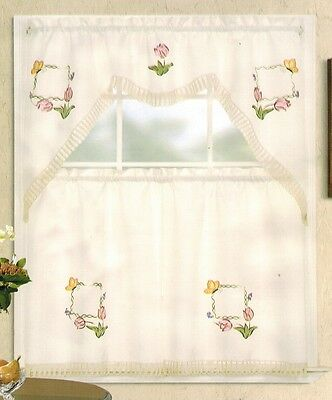 Embroidery Pink Tulip and Gold Butterfly Kitchen/cafe Curtain Tier and Swag Set ()