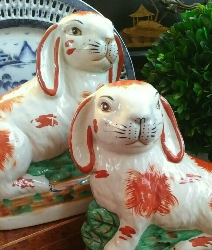 """Glorious Large Pair Figural English Staffordshire Style Mantle Rabbits - 7"""" H"""