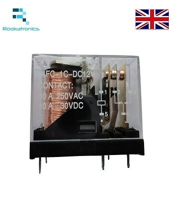 SPDT 12VDC Coil Electromagnetic Power Relay 10A AC/DC PCB Mount Relay 5 Pins
