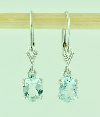 14k Solid White Gold Dangling Oval Aquamarine Earring lever back March Birth