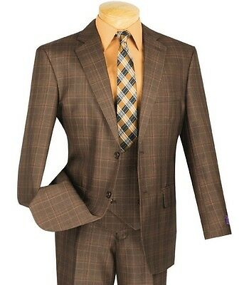 Men's Brown Glen Plaid 3 Piece 2 Button Classic Fit Suit NEW w/ Matching Vest