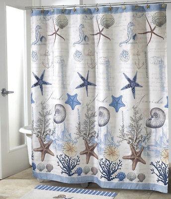Decorative Bathroom Shower Curtain 70x72 Ocean Seashell Beach Theme Bath Decor ()