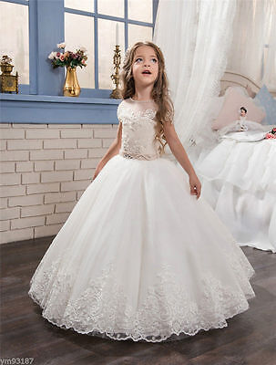 New Lace Flower Girl Dresses First Communion Dress for Little Girls Pageant Gown (Special Occasion Dresses For Little Girls)