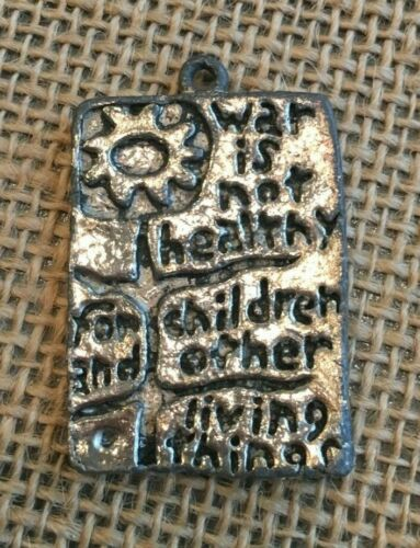 """MOTHERS FOR PEACE 1968 Pendant Anti War Movement Protest """"War Is Not Healthy"""""""