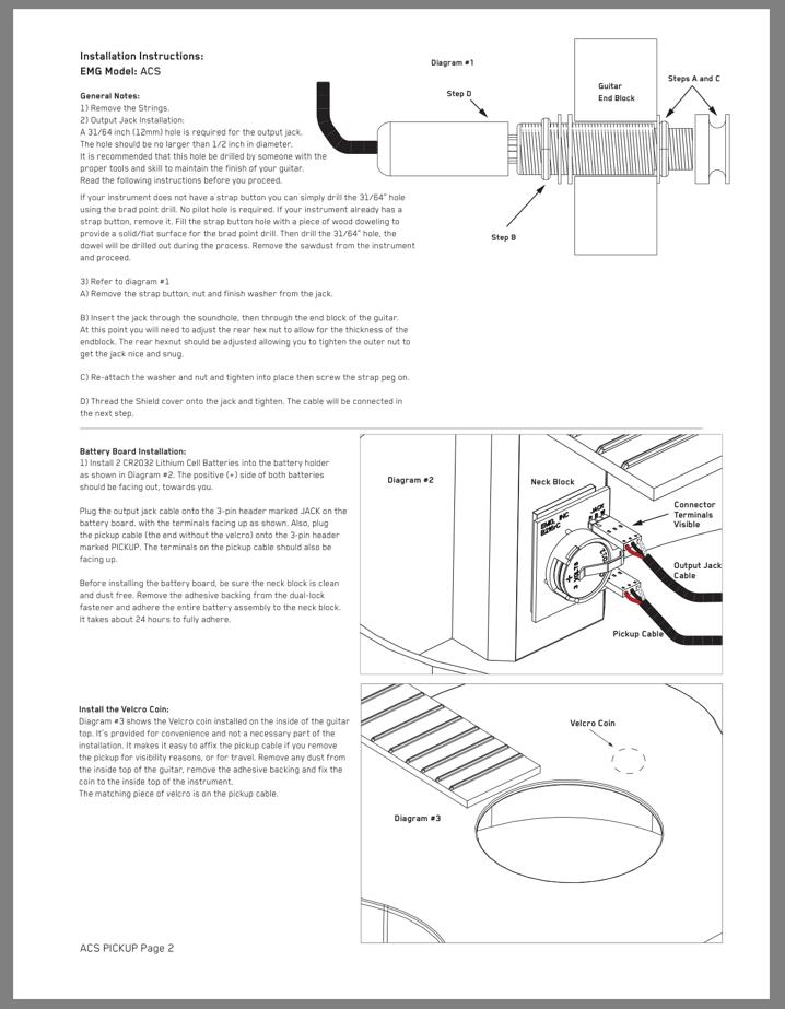 EMG ACS Ivory Acoustic Active Soundhole Pickup 3 ERNIE BALL #2003 STRING SETS