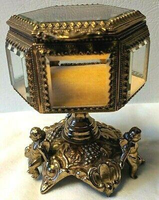 RARE Unique Vtg  Hexagon CHERUB Angels Ormolu Jewelry Casket Trinket Box TAJ