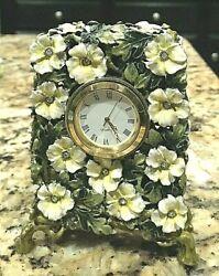 Enameled Floral Desk Quartz Clock From Saks Fifth Avenue