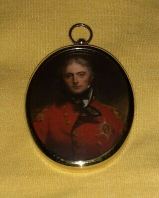 Miniature portrait of Sir John Moore in an oval brass bezel.