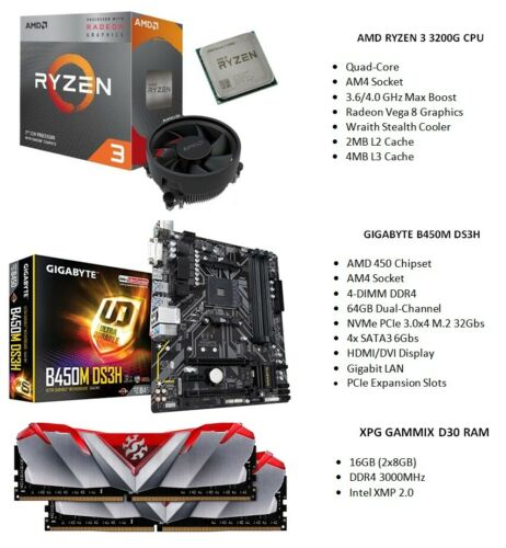 AMD RYZEN 3 3200G Quad-Core CPU + GIGABYTE B450M DS3H MOBO + 16GB RAM Combo