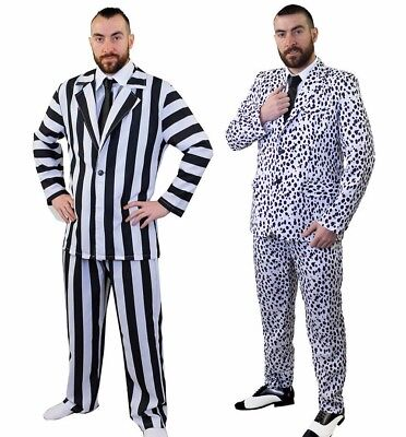 B&w Halloween Kostüme (IL Mens B & W Striped / Dalmatian Suit Matching Trousers HALLOWEEN Costume Party)