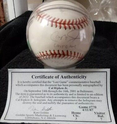 - CAL RIPKEN JR.  Autographed-Official LAST GAME BALL #770/2632  **Authenticated**