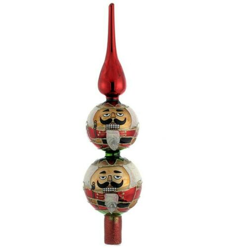 "13"" Red Christmas Tree Topper Ornament Glass Tree Decor NUTCRACKER by Kurt Adler"