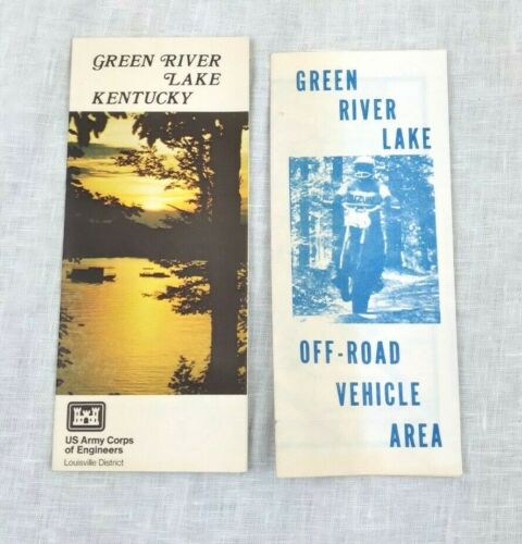 2 Vintage Green River Lake Kentucky Brochures US Army Corps & Off-Road Vehicle
