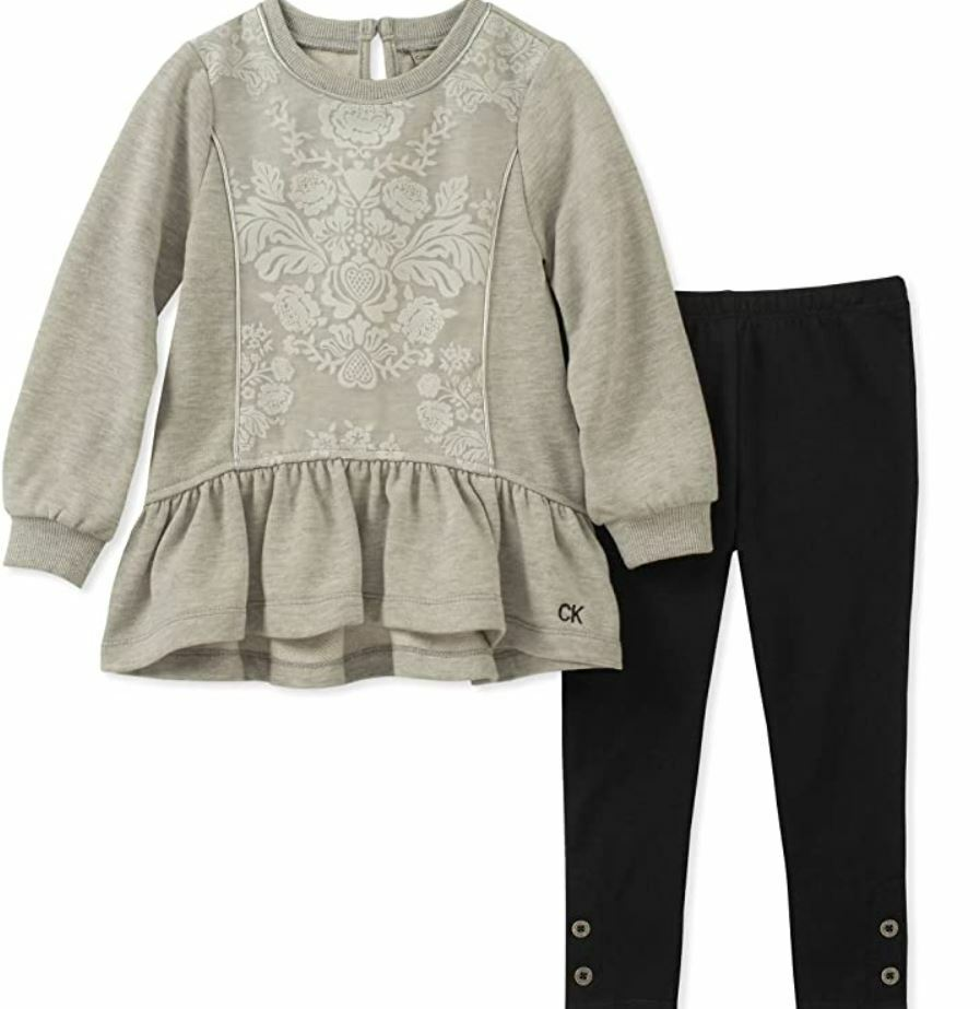 Calvin Klein Girls' 2 Piece Tunic Legging Set (Silver Heather, 6) Clothing, Shoes & Accessories